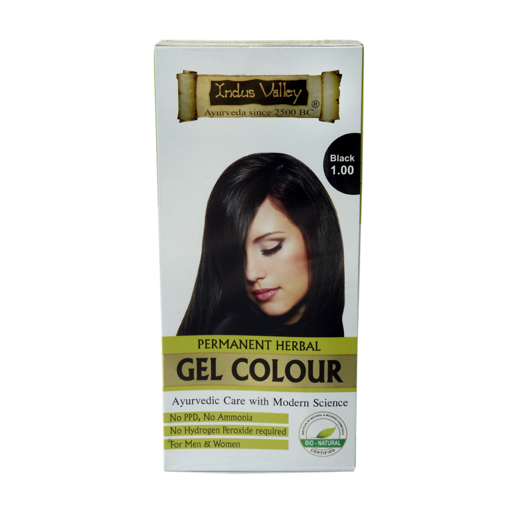 INDUS VALLEY PERMANENT GEL HAIR COLOUR BLACK NO 1.00