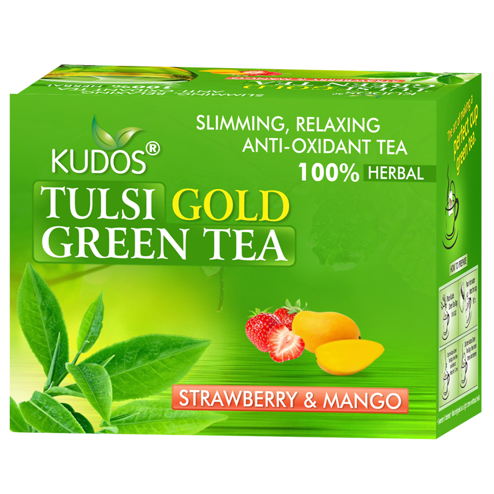 TULSI GOLD GREEN 12 TEA BAGS (STRAWBERRY & MANGO)