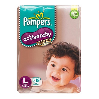 PAMPERS ACTIVE BABY DIAPERS LARGE 18'S