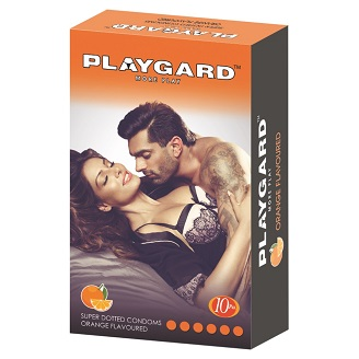 PLAYGARD MORE PLAY SUPER DOTTED CONDOMS ORANGE 10'S