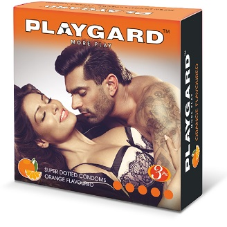 PLAYGARD MORE PLAY SUPER DOTTED CONDOMS ORANGE 3'S