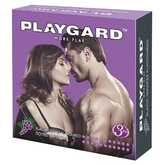 PLAYGARD MORE PLAY DOTTED CONDOMS BLACK GRAPES 3'S