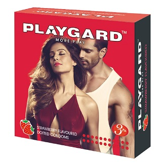 PLAYGARD MORE PLAY DOTTED CONDOMS STRAWBERRY 3'S