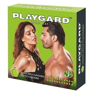 PLAYGARD MORE PLAY DOTTED CONDOMS GREEN APPLE 3'S