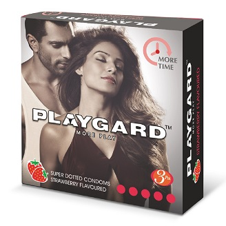 PLAYGARD MORE PLAY SUPER DOTTED CONDOMS STRAWBERRY 3'S