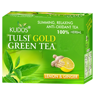 TULSI GOLD GREEN TEA  12 TEA BAGS (GINGER & LEMON)